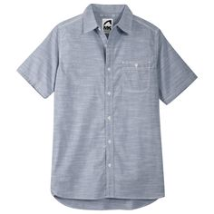 At the intersection of Rugged and Refined we find the Mountain Chambray Shirt. Ready for work and play alike, it's truly Built for the Mountain Life®. Triple-stitched seams and bar-tack reinforcements just like our hips-down collection. Drop-tail hem and custom faux corozo buttons. Imported. 100% cotton. Classic Fit. Also available in Long Sleeve (#362).