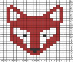 Pixel Grid – Animals Fox – Gridlines – – knittingpattern – knitting pattern for babies - Knitting Charts Fair Isle Knitting Patterns, Knitting Charts, Knitting Stitches, Free Knitting, Sock Knitting, Knitting Machine, Vintage Knitting, Motif Fair Isle, Fair Isle Chart
