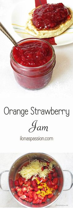 No pectin Strawberry jam with orange, lemon juice and apple. No pasteurization required for this strawberry jam. Perfect for breakfast strawberry jam. Jelly Recipes, Jam Recipes, Canning Recipes, Lunch Recipes, Yummy Recipes, Canning Tips, Drink Recipes, Cooker Recipes, Sauce Pizza