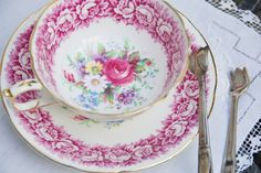 Gorgeous PARAGON Tea Cup and Saucer, Deep Pink, Floral Wreath,  England c. 1950's. $65.00, via Etsy.