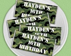 Camo / Army Themed Birthday Party Favors: Personalized Wrappers over HERSHEY'S Chocolate Bars #16thbirthdayfavors