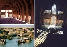 Interior de uma casa-cesta, construída pelos chamados 'árabes do pântano', no sul do Iraque;