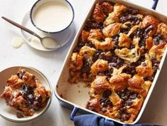 Chocolate Croissant Bread Pudding with Bourbon Ice Cream Sauce from CookingChannelTV.com