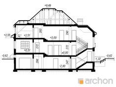 gotowy projekt Rezydencja w Myślenicach 2(P) przekroj budynku Unique House Design, Model One, Home Design Plans, Grey's Anatomy, Luxury Homes, House Plans, Buildings, Floor Plans, How To Plan