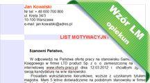 Wzór listu motywacyjnego Opiekun