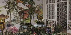 A large-scale depiction of a fantastical garden in bloom, the Designers Guild Jardin Des Reves Panoramic Wallpaper has been brilliantly designed by Christian Lacroix. Luxury Wallpaper, Modern Wallpaper, Of Wallpaper, Designer Wallpaper, Pattern Wallpaper, Wallpaper Ideas, Christian Lacroix Wallpaper, Giant Tree, Botanical Wallpaper