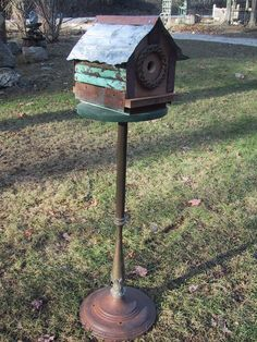 Custom Salvaged Recycled Repurposed Copper Patina Upcycle Birdhouse