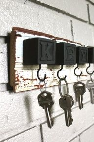Spray paint kids blocks for a DIY key holder.