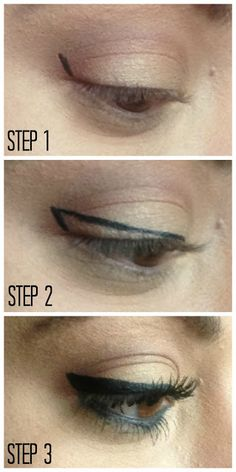 Winged Eyeliner Tutorial... They make it look so easy but when I try doing this it looks like I'm wearing black eyeliner all over my eyelid : /
