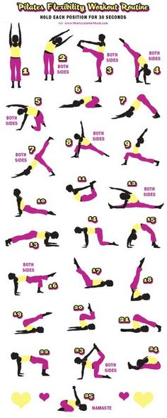"Says ""Pilates Flexibility Workout Routine"". Looks to be mostly yoga, with a few pilates moves thrown in. Still a good yoga chart! Fitness Workouts, Sport Fitness, Fitness Diet, Fitness Motivation, Health Fitness, Workout Exercises, Pilates Fitness, Workout Routines, Workout Ideas"