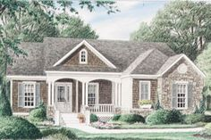 Country Style House Plan - 3 Beds 2 Baths 2080 Sq/Ft Plan #34-110 Exterior - Front Elevation - Houseplans.com