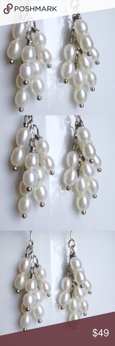 Fresh Water Pearl Tassel Earrings Two trends/Pearls and tassels how can you miss with these gorgeous tassel ears. Steling Silver Handmade Jewelry Earrings
