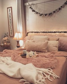 Cozy, shabby chic, farmhouse bed! Love the juxtaposition of purposely messy with refined details! #farmhouse #pinterest #bedroom #bedroom #homedecor #decor #myroom #room #design #style #pink #cozy #interiordesign