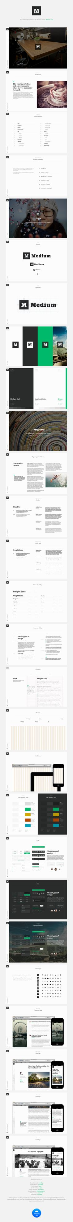 Medium Brand Guide - love the understated, trustworthy feel of the overall look. using a slab serif like this makes me feel reassured.