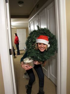 Christmas Party Ideas- Minute to Win it ideas Snowball toss through wreath with big marshmallows!!!!