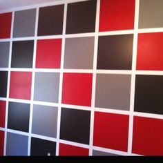 Color blocked accent wall in the boys Husker-themed bedroom;) Use green frog tape NOT blue painters tape.much better for clean lines and edges, no bleeding and easy removal Bedroom Wall Designs, Accent Wall Bedroom, Master Bedroom Design, Bedroom Themes, Interior Design Living Room, Cool Kids Rooms, Kids Room Paint, Frog Tape Wall, Home Depot Paint