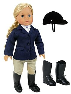 18 Inch Doll Riding Outfit, 5 Piece Complete Navy Equestrian Set fits 18 Inch American Girl Dolls & More! Includes Boots and Helmet Sophia's http://www.amazon.com/dp/B00J9GK7MM/ref=cm_sw_r_pi_dp_UzQvwb0MB7N8N