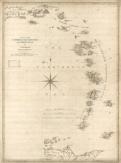 Map Of The Caribbean Sea From The 1700s 114 Map West Indies Virgin Islands Trinidad Martinique Grenadines Islands Topical Tropics