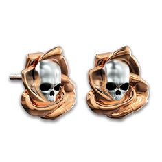 Gothic Style Rose And Skull Two-tone Ear Stud