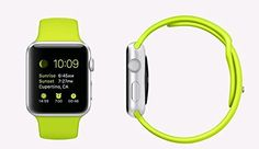Apple Watch 42mm Silver Aluminum Case with Green Sport Band #electronic #sale http://www.allelectronicstore.com/apple-watch-42mm-silver-aluminum-case-with-green-sport-band/ FEATURES Digital Crown Retina display with Force Touch Heart rate sensor, accelerometer, and gyroscope Ambient light sensor Speaker and microphone Wi‑Fi (802.11b/g/n 2.4GHz) Bluetooth 4.0 Up to 18 hours of battery life Water resistant Height: 42.0mm Width: 35.9mm Depth: 10.5mm Case: 30g Band: 48g APPLE WATCH S..