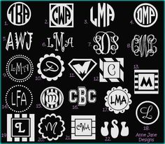 Monogram Car Decal Car Tattoo Personalize by AnneJaneDesigns1, $6.00