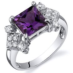 Simulated Alexandrite Princess Ring Sterling Silver Nickel Finish 225 Carats Size 7 ** Be sure to check out this awesome product.Note:It is affiliate link to Amazon.