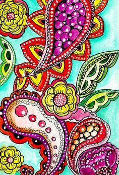 Alisa Burke — /beverlyabauer/crazy-peacocks-paisleys/ BACK Paisley Doodle, Zen Doodle, Doodle Art, Flower Doodles, Doodle Flowers, Alisa Burke, Drawing Journal, Little Doodles, Decoupage