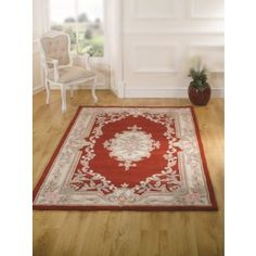 Aubusson Classic Red Wool Rug with Free UK Delivery & best prices online Guaranteed. Huge choice of quality styles, designs in stock at Land of Rugs. Traditional Rugs, Wool Rug, Lotus, Hand Carved, Classic Style, Embellishments, Oriental, Floral, Stuff To Buy