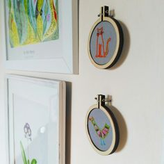Mini hoop embroidery. My little designs doodled on post it notes made their way into these tiny hoops. I love to use bright colours in my home on neutral walls. Definitely Scandi style inspired!