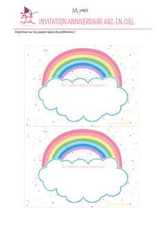 carte anniversaire arc en ciel à imprimer