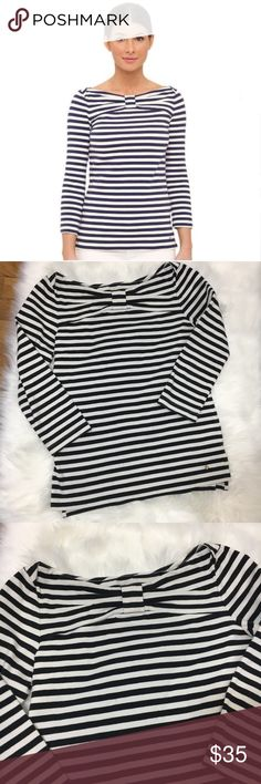 Kate Spade striped bow stretch 3/4 sleeve knit top Classic kate spade stripes with bow detail on neck / 3/4 sleeves make this a perfect knit top for any season / material gives a nice stretch / small stain on sleeve ( see photo ) kate spade Tops