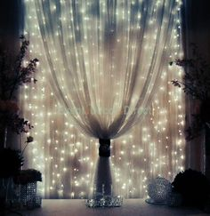 For inside, if I have an inside: strings of mini-lights attached to a rod behind sheer fabric. Great for stage design.