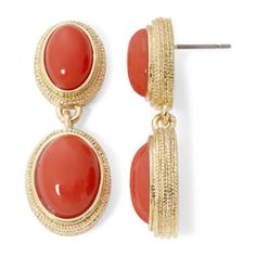 Monet® Coral Stone Gold-Tone Double-Drop Earrings  found at @JCPenney