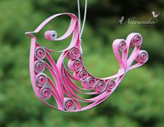 Paper Quilling Pink Bird Ornament. $14.99, via Etsy.
