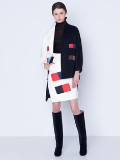 Short coat in bi-color cashmere double face, colorama patchwork, featuring a lapel collar and snap closure Skirt Fashion, Fashion Show, Face Wrap, Fabric Patch, Winter Wardrobe, Wrap Style, Knit Cardigan, Coat, Editorial Fashion
