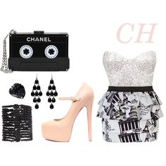 CH by ninahudson on Polyvore featuring moda, Club L, River Island, Chanel, Pieces, Forever New and GUESS