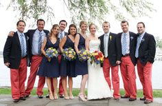 Blue Blazers and Nantucket Reds. Can this be my wedding party please? Beach Wedding Groom, Nautical Wedding, Blue Wedding, Wedding Colors, Wedding Styles, Wedding Ideas, Wedding Bells, Nantucket Red, Nantucket Wedding
