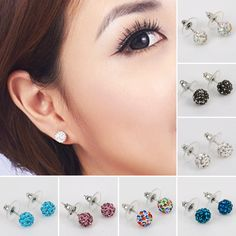 Free Shipping 15 Color 7MM Shamballa Brand Earrings Micro Disco Ball Shamballa Crystal Stud Earring For Women Fashion Jewelry