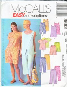 McCall's Sewing Pattern 3662 Easy Endless Options Misses'/Miss Petite Tops, Tunic, Pull-on Capri Pants and Shorts Description: Pullover top A o New Look Patterns, Plus Size Sewing Patterns, Sewing Patterns For Kids, Mccalls Sewing Patterns, Dress Patterns, Clothes Patterns, Tunic Pattern, Top Pattern, Petite Tops