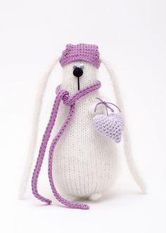 New knitting toys rabbit Ideas Knitted Bunnies, Knitted Animals, Crochet Bunny, Knitted Dolls, Crochet Toys, Knit Crochet, Crochet Baby Poncho, Baby Knitting, Knitting Toys