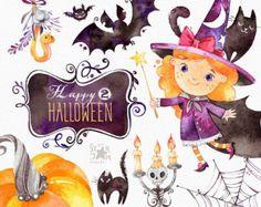 Felice Halloween 2. Clipart dell'acquerello, pipistrello, piccola strega, magia, bunting bandiere, cornici, boo, cranio, saluto, invito, floreale, stampa, bambini