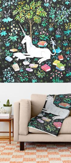 reading unicorn throw blanket by Steph Terao