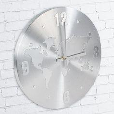 Reloj mapamundi de alumino