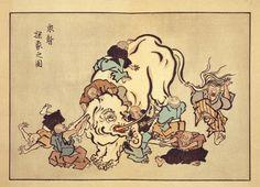Buddhist parable of the blind monks examining an elephant; illustrated by Itchō Hanabusa. (1888 Ukiyo-e woodcut)