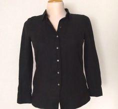 Black Irish Linen L/S Blouse size 10 Real Clothes SAKS FIFTH AVENUE Button Shirt #SaksFifthAvenueREALCLOTHES #ButtonDownShirt #Career