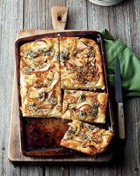 Focaccia with Caramelized Onions, Pear and Blue Cheese Recipe on Food & Wine