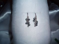 Chaos Wire Wrapped Earrings with Metallic Grey Glass Beads