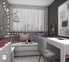 Aranżacje wnętrz - Pokój dziecka: Pokoik Lenki - Mały pokój dziecka dla dziewczynki dla ucznia dla nastolatka, styl nowoczesny - Designbox Marta Bednarska-Małek. Przeglądaj, dodawaj i zapisuj najlepsze zdjęcia, pomysły i inspiracje designerskie. W bazie mamy już prawie milion fotografii! Room Decor, Decor, Interior Design, Dream Rooms, Home, Interior, Cozy House, Home Decor, My Room