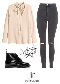 """""""Young Forever Inspired: Jin"""" by btsoutfits ❤ liked on Polyvore featuring H&M, Topshop and Dr. Martens"""
