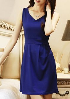 $5.76 -- V-Neck Solid Color Sleeveless Casual Dress For Women